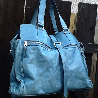 £450 • Buy Genuine Mulberry Antique Blue Maxi Mabel Travel Weekend Bag Gorgeous Genuine