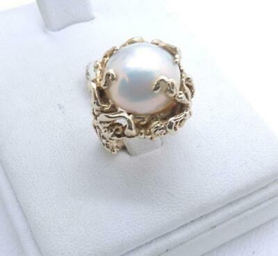 $595 • Buy 14K Solid Yellow Gold Mabe Pearl Ring Nugget Free Form 9.8 Grams Size 2.75