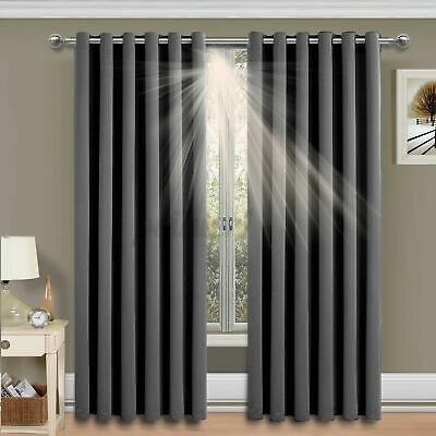 £17.53 • Buy Thermal Blackout Curtains Ready Made Eyelet Ring Top Curtain Pair With Ti