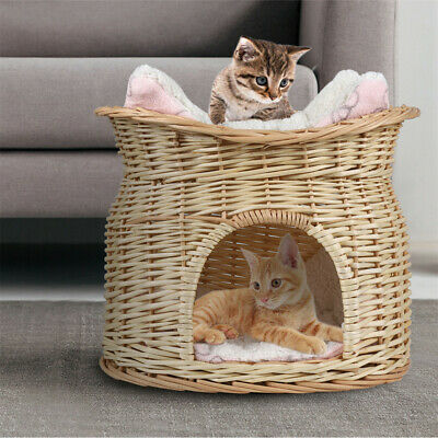 £25.95 • Buy Rattan Cane Willow Wooden Woven Cat Dog Bed Basket Pet House Soft Flannel Cushio