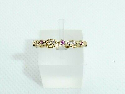 £20.65 • Buy Ladies 18 Carat Gold On 925 Sterling Silver Ruby White Sapphire Eternity Ring