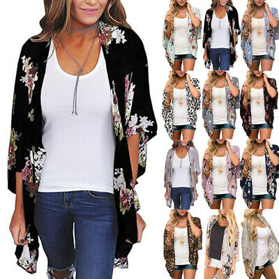 £9.49 • Buy Womens Floral Cardigan Ladies Bell Sleeve Kimono Summer Cover Up Tops Plus Size