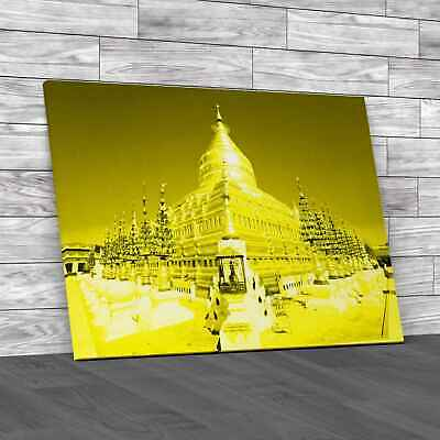 £12.95 • Buy Ancient Golden Temple Yellow Canvas Print Large Picture Wall Art