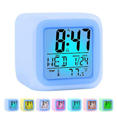 AU16.59 • Buy Digital Alarm Clock With Snooze 8 Multi Sound 7 Color Changing LED Night Light