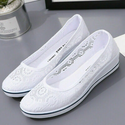 £10.99 • Buy Womens Slip On Shoes Ladies Low Wedge Pumps Comfy Casual Loafers Trainers Size