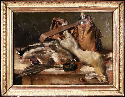 £118.12 • Buy Horace Richebe (1871-1958) Huge Signed French Still Life Oil - Hunters Game Bag