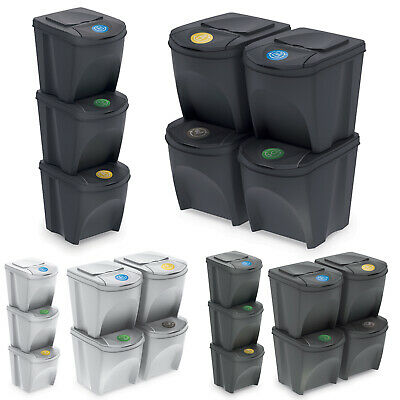 £24.99 • Buy 3 4 X 25L Large Stackable Kitchen Food Recycling Sorting Plastic Waste Bins Lids