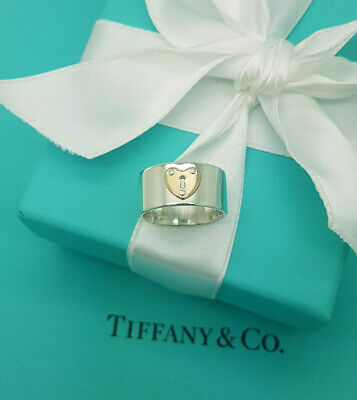 £427.99 • Buy Tiffany & Co. 18Ct Rose Gold Silver Wide Band Heart Keyhole Ring /M UK Or 52.5EU