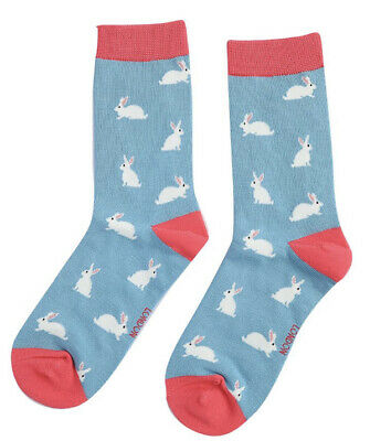 £5.50 • Buy Miss Sparrow Ladies Bamboo Socks Rabbits In Duck Egg Novelty One Size 4-7