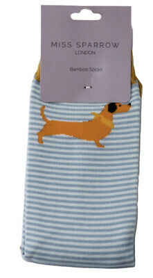£5.50 • Buy Miss Sparrow Ladies Bamboo Socks Sausage Dog In Duck Egg Novelty One Size 4-7