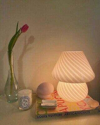 £81.24 • Buy Striped Baby Mushroom Lamp, Murano Style Glass Lamp, Bedside Table Lamp,