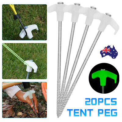 AU21.99 • Buy 20Pcs Tent Pegs Heavy Duty Screw Steel In Ground Camping Stakes Outdoor Nail