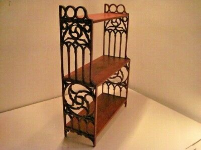 AU67.94 • Buy Antique Wooden Shelf Hand Carved Filigree 3 Shelves Wall Or Table - Vgc!