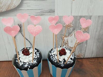 £2.99 • Buy SUGAR PINK Glitter Heart Cupcake Toppers/Flags Cake Decoration Wedding/Birthday