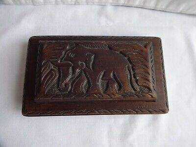 £36 • Buy Vintage Asian Hand Carved Wooden Secret Box With Elephant Top