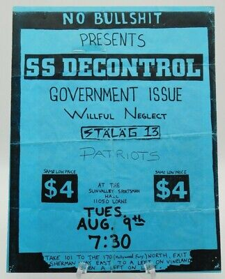 $14.95 • Buy Ss Decontrol Government Issue Sun Valley Sportsman Hall La Punk Concert Poster