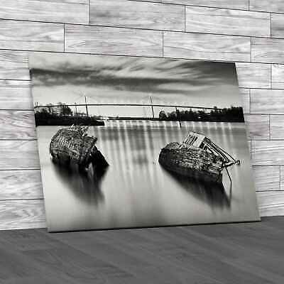 £12.95 • Buy Sunken Boats And The Erskine Bridge Glasgow Canvas Print Large Picture Wall Art