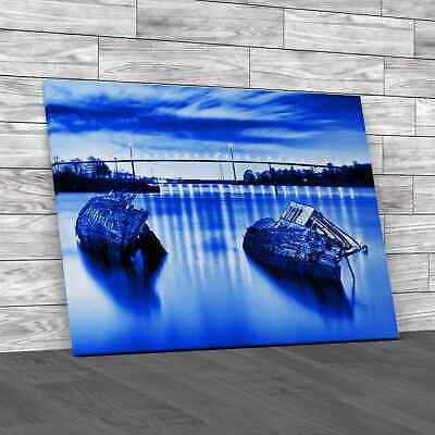 £12.95 • Buy Sunken Boats And The Erskine Bridge Glasgow Blue Canvas Print Large Picture Wall