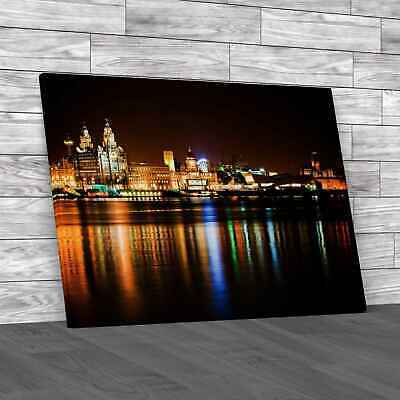 £34.95 • Buy Night Time Liverpool City Reflections Canvas Print Large Picture Wall Art