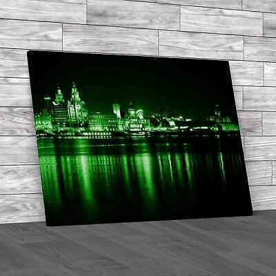 £12.95 • Buy Night Time Liverpool City Reflections Green Canvas Print Large Picture Wall Art