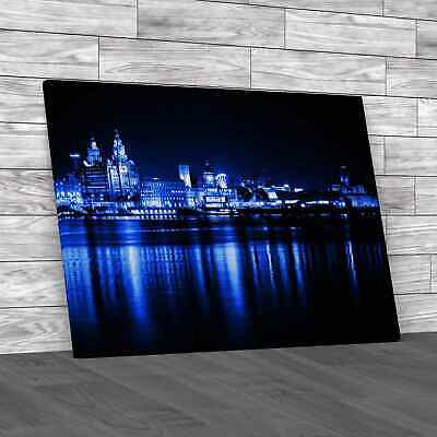 £12.95 • Buy Night Time Liverpool City Reflections Blue Canvas Print Large Picture Wall Art