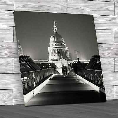 £18.95 • Buy St Pauls Cathedral In London Square Black White Canvas Print Large Picture Wall