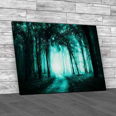 £12.95 • Buy Road Through A Golden Forest Teal Canvas Print Large Picture Wall Art