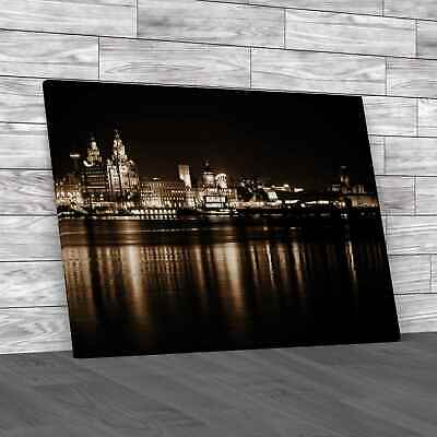 £23.95 • Buy Night Time Liverpool City Reflections Sepia Canvas Print Large Picture Wall Art