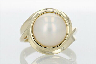 $459.99 • Buy Mabe Pearl Statement Band Ring 14k Yellow Gold Size 8.25 / 9.25 Grams