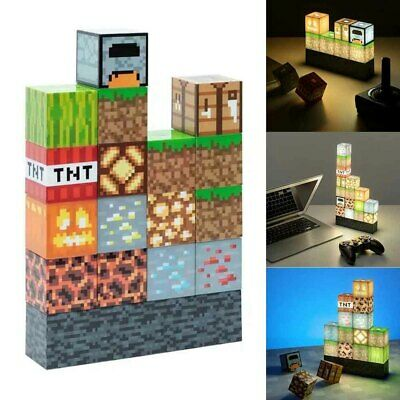 AU24.94 • Buy For Minecraft Building Block Light Desk Lamp Create Your Own Bedroom Game Gift