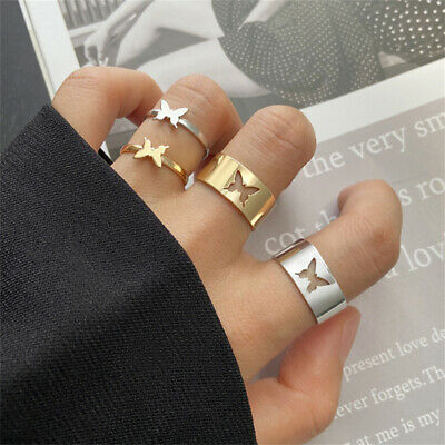 £3.53 • Buy 2Pcs Butterfly Rings For WomenButterfly Pinky Promise Couple Matching Friendship