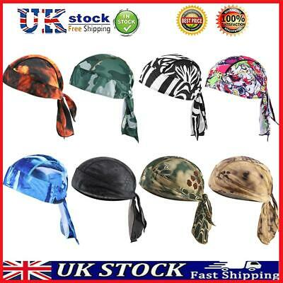 £5.32 • Buy Tie Down Fitted Bandana Pirate Hat Do Printed Scarf Head Band Cycling Skull Cap
