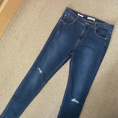 £12.99 • Buy Pull And Bear Blue Jeans Size 14/42 Excellent Condition Skinny Mid Waist