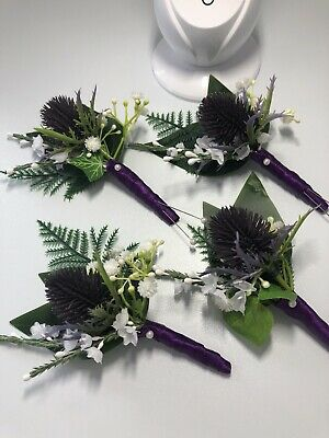 £15 • Buy Scottish Thistle Heather Buttonholes (4)Sea Holly With Navy Ribbon