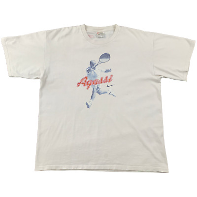 £60 • Buy Vintage Nike Court Andre Agassi Print Tee White Large