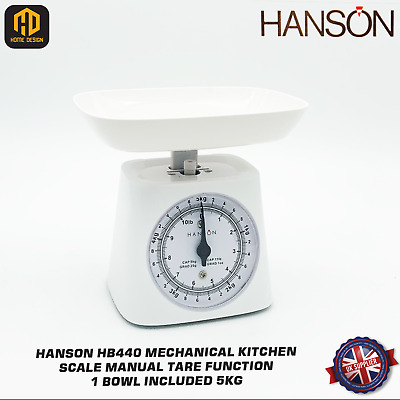 £11.89 • Buy Hanson HB440 Mechanical Kitchen Scale Manual Tare Function 1 Bowl Included 5kg