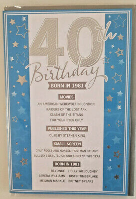 £2.99 • Buy 40th Birthday Card  Born In 1981 Events Card Unique To The Year You Were Born