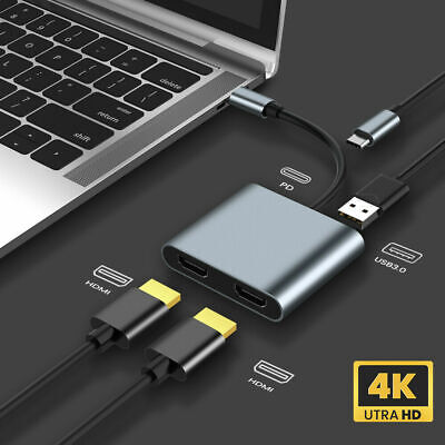 AU31.99 • Buy 4 In 1 Type-C To 4K Dual HDMI USB 3.0 Hub Adapter Cable PD Charge Windows Mac AU