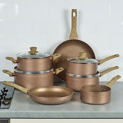 £64.99 • Buy 7 PCS URBN-CHEF Ceramic Rose Gold Induction Cooking Pots Frying Pan Cookware Set