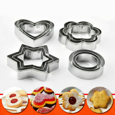 £2.95 • Buy 12 Pcs Stainless Steel Various Shape Cookie Cake Egg Different Style Cutter UK