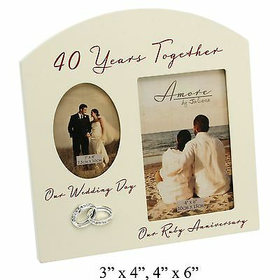£13.97 • Buy 40th Anniversary Ruby Wedding Cream Photo Frame - 40 Years Together Amore