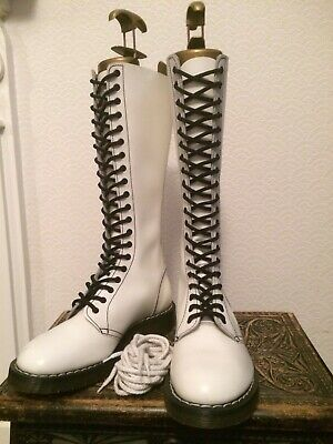 £199.99 • Buy New Rare Vintage Dr Martens Hawkins England White Leather 1420 20 Eye Boots Uk7
