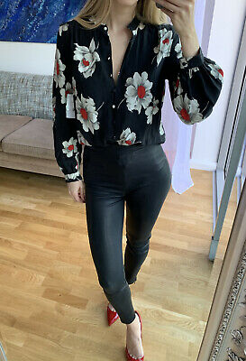 £87 • Buy £300 ** EQUIPMENT ** Cornelia Floral Print Washed Silk Shirt Blouse Top In S