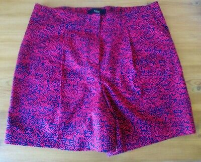 £9.99 • Buy New - NEXT  Red Blue Aztec Print Smart Shorts With Front Pleat - Size 10