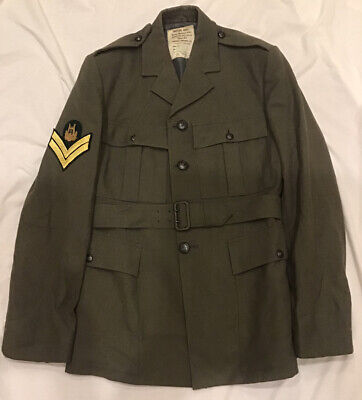 """£20 • Buy 1980s Royal Marines No.5 Dress Lovat Worsted Tunic (38"""" Chest) With Belt"""