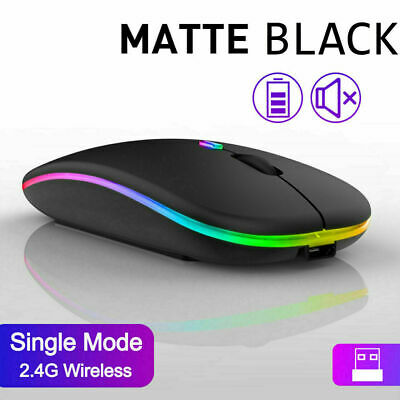 £6.45 • Buy Slim Silent Rechargeable Wireless Mouse+USB Mice RGB LED MacBook Laptop PC UK