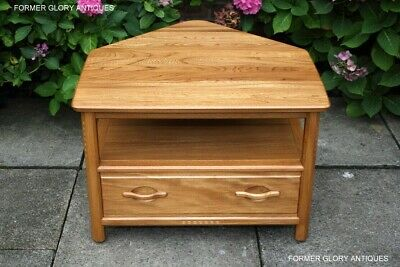 £450 • Buy An Ercol Woodstock Light Elm Corner Tv Cabinet Satellite Dvd Stand Console Table