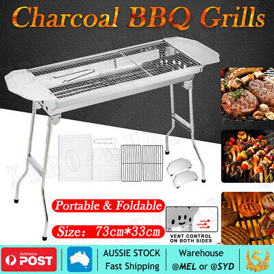 AU42.95 • Buy Portable & Foldable Charcoal BBQ Grills Stainless Steel Outdoor Camping Picnic