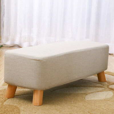 £29.99 • Buy Linen Fabric Padded Stool Bench Footstool Pouffe Living Room Bedroom Footrest