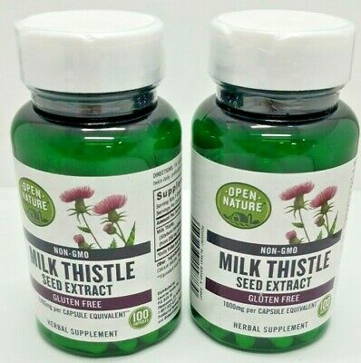 $12 • Buy Open Nature Non-GMO Milk Thistle Seed Extract 1000mg-100 Capsules- 2 Pack